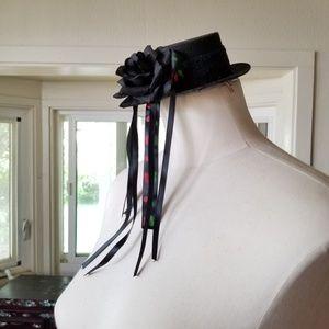 Accessories - SOLD Cherry Ribbon Rose Mini Lolita Hat